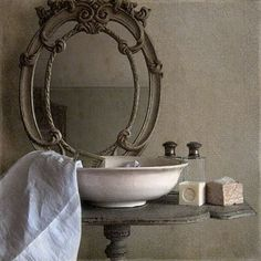 Savon de Marseille - French cast iron sink stand and mirror surround - bathroom French Decor, French Country Decorating, Country French, Wc Decoration, Still Life Photography, Beautiful Bathrooms, Shabby Chic, Sweet Home, Home Decor