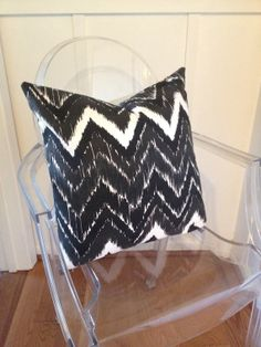 Black & White Ikat Chevron Decorative Pillow Cover, Throw Pillow, Accent Pillow for 20 by 20 insert on Etsy, $40.00, Bobi Law Designs