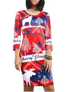 GET $50 NOW | Join RoseGal: Get YOUR $50 NOW!http://www.rosegal.com/print-dresses/christmas-3-4-sleeve-snowflake-print-693868.html?seid=7754273rg693868