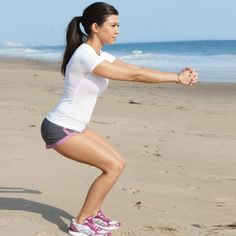 Kourtney Kardashian ~ Low Walking  Works: Butt and legs  Stand with feet hip-width apart and extend arms in front of you, hands clasped. Squat low and walk forward 20 steps, then backward 20 steps.