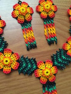 Mexican Huichol beaded necklace set With earrings/Free
