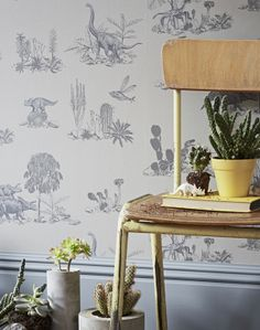 Dino Wallpaper - Grey - Sian Zeng — Sian Zeng