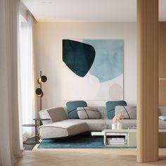 Living room Japanese Interior Design, Contemporary Interior Design, Interior Modern, Contemporary Kitchens, Modern Exterior, Contemporary Bedroom, Blue Living Room Decor, Interior Design Living Room, Living Room Designs