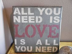 wooden sign all you need is love subway art wall by CiderHouseMill, $28.00