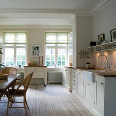Farrow & Ball James White (off-white with green base) for kitchen