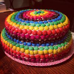 Girl With Cake's M&Ms cake. Recipe at www.girlwithcake.co.za M&ms Cake, Eid, Recipes, Decor, Rainbows, Colorful, Cakes, Party, Decoration