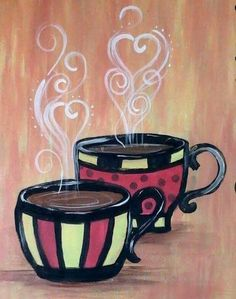 love coffee an acrylic painting of steaming cups of coffee whimsical hearts and patterns in the steam canvas rich colors brown yellow red # Coffee Painting Canvas, Diy Canvas Art, Paint And Sip, Diy Painting, Painting & Drawing, Painting Walls, Coffee Cup Art, Coffee Coffee, Black Coffee