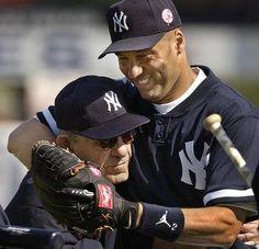 """Via Lindsay Berra @ lindsayberra """"Gramp and his pal Derek at spring training in 2002."""" #Yankees #JeterDay #HowTimeFlies"""