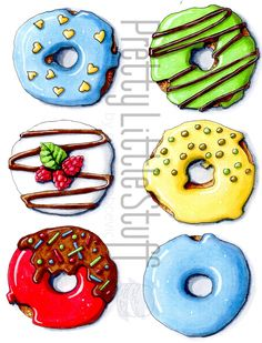Sweet donuts PrettyLittleStuff by MarinaRabcevic - Donut recipes Cute Food Drawings, Art Drawings Sketches, Easy Drawings, Colorful Drawings, Donut Drawing, Candy Drawing, Donuts, Food Art Painting, Copic Marker Art