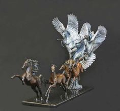 """Angels Landing"" sculpture by Jan Van Ek Horse Sculpture, Animal Sculptures, Wooden Sculptures, Horse Artwork, Plastic Art, Pottery Sculpture, Equine Art, Stone Art, Traditional Art"