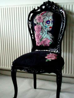 Vintage Style Chair in Gloss Black with Hand Embroidery Artwork,Day Of The Dead Gypsy Bride. $850.00, via Etsy.