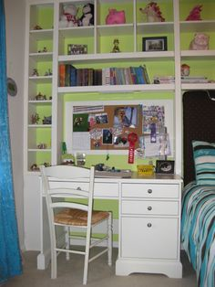 For small bedroom, like all the shelving, a good way to keep her room organized.