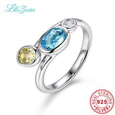 l&zuan Trendy & Noble Sterling Silver Jewelry Ring  1.61ct 3 Colors Topaz Blue Stone Prong Setting Ring Jewelry  For Woman Ring