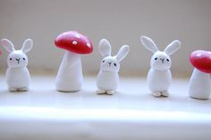 lucky bunny and toad stool CLAY sculptures