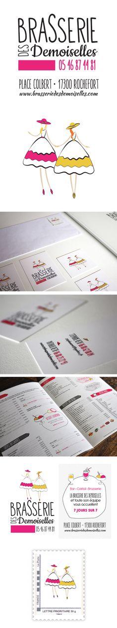 La brasserie des Demoiselles Identité visuelle et réalisation des supports de communication (cartes de visites, menus, porte menu extérieur, timbres, tee shirts, encarts publicitaires)