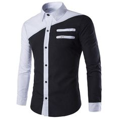Color Block Slimming Shirt Collar Long Sleeves Cool Shirt For Men
