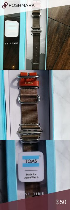 NEW Toms 42 mm apple watch band Toms olive green apple watch band // Red leather with a gold Toms stamp // Brand new never taken out perfect condition Toms Accessories Watches