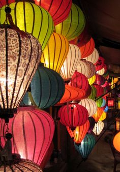 Hoi An lanterns, very colourful. Popular handicrafts and souvenirs