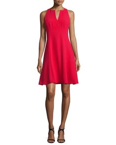 Sleeveless+Fit-&-Flare+Dress,+Red+by+Nanette+Lepore+at+Neiman+Marcus.