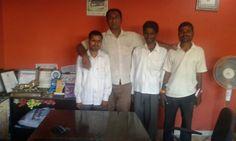 Our helplinefoundation blind friend Ramdas dhatonde(newasa)vinayak vankhade(aurangbad)yogesh avhad(harigaon) who help other blind with baba sonawane enjoy with  selfee in our office