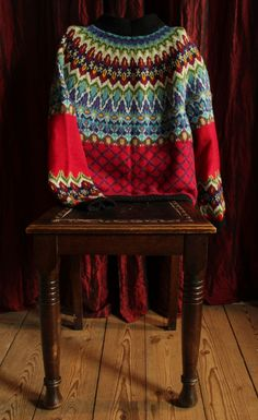 .Stranded sweater, yoke construction, lots of design