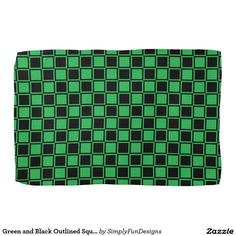 Green and Black Outlined Squares Hand Towel