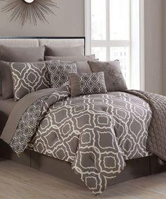 Look what I found on #zulily! Taupe & White Savoy 14-Piece Comforter Set #zulilyfinds