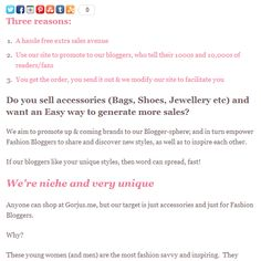 3 reasons to promote your brand #bags #shoes #jewellery on Gorjus.me