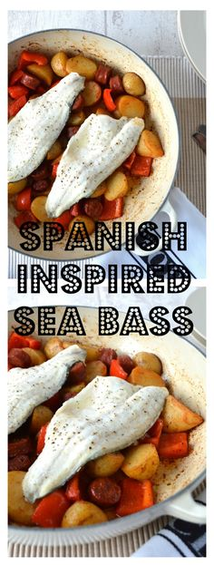 **Spanish Inspired Sea Bass** A deliciously spicy dish with Jersey Royal Potatoes, Chorizo and Red Pepper. Shellfish Recipes, Seafood Recipes, Cooking Recipes, Easy Recipes, Spicy Dishes, Fish Dishes, Easy Sea Bass Recipe, Barramundi Recipes, Nordic Recipe