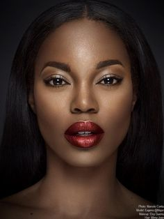 Eugena Washington with metallic red lipstick. Makeup for darkskin women. Eugena Washington with metallic red lipstick. Makeup for darkskin women. Lipstick For Dark Skin, Dark Skin Makeup, Dark Skin Beauty, Lipstick Shades, Black Beauty, Natural Makeup, Matte Lipstick, Lavender Lipstick, Wine Lipstick