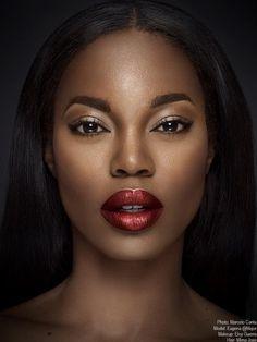 Eugena Washington with metallic red lipstick. Makeup for darkskin women.