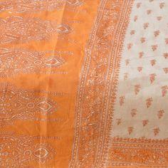 Sanskriti Vintage 100% Pure Cotton Saree Orange Printed Sari Dress Making Fabric #SanskritiVintage #Saree