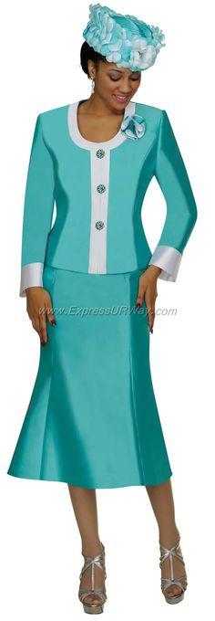 Nubiano  Sea Green Ladies Church Suit