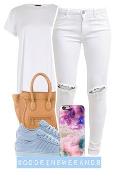 """10:7:15"" by codeineweeknds ❤ liked on Polyvore featuring River Island, CÉLINE, FiveUnits, adidas and Casetify"