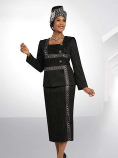 Ben Marc 48072 Womens Square Neckline Skirt Suit With Embellishments