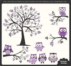 Purple Owl Clip Art | Owl Digital Clipart and Tree Digital Clipart Set in Purple and Grey ...