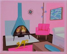 Mid Century Modern Eames Retro Limited Edition Print from Original Painting Interior Cat