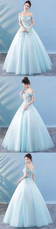 Light blue lace tulle long prom dress, lace evening dress #eveningdresses