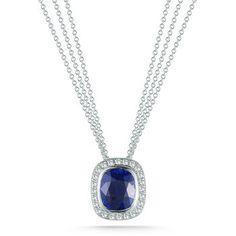 Blue Sapphire & Diamond Necklace Platinum