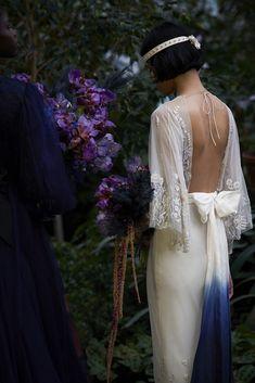 Wild Flower in Petal Confetti with cape sleeves, styled with bespoke, dip dye belt. Garden Wedding Dresses, Boho Wedding Dress, Formal Evening Dresses, Elegant Dresses, Hermione, Alternative Wedding, Couture Dresses, Bridal Collection, Wedding Styles