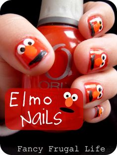 """tutorial for Elmo nails, FUN! Could be good for a photo shoot with a little one. They would look at your hand which is on the camera. You could tell them to """"watch Elmo""""."""
