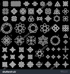 Illustration about 50 collection of Celtic, Chinese and other knots for use in your creative projects (vector illustration). Illustration of monochromatic, fifty, decoration - 46166292 Simple Rangoli Designs Images, Small Rangoli Design, Rangoli Designs With Dots, Kolam Designs, Celtic Symbols, Celtic Art, Celtic Knot Tattoo, Celtic Knots, Silkscreen