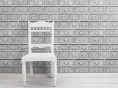 Carta da parati a motivi ALMOST WHITE INDUSTRIAL DRAWERS by Mineheart design Young