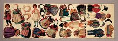 GERMAN UNCUT SHEETS OF PAPER DOLLS  3 to 5 costumes and matching headdresses. Costumes reflect traditional or folklore style costumes and are accented with small floral bouquets of that region  Germany 1920s