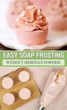 This whipped melt and pour soap frosting recipe is the perfect bath bomb frosting. Add it to cupcake bath bombs -- no meringue powder needed! via Shrimp Salad Circus - DIY, Home, & Recipes Cupcake Bath Bombs, Cupcake Soap, Lush Bath Bombs, Diy Bath Bombs, Natural Bath Bombs, Shower Bombs, Homemade Bath Bombs, Cupcake Frosting, Bombe Recipe