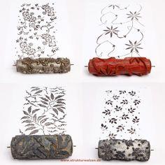 Florale Musterwalzen zu verkaufen - buy old vintage floral pattern rollers from www.musterwalzenarchiv.de ... worldwide shipping!