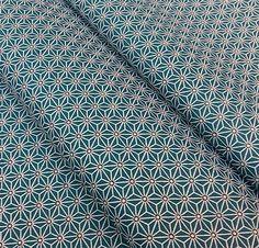 Stoff Saki japanische Muster Star blaue Ente von NadegeTissus VK 15 €