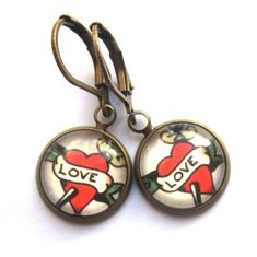 Love Tattoo Earrings Boho Heart Glass and Antiqued Brass