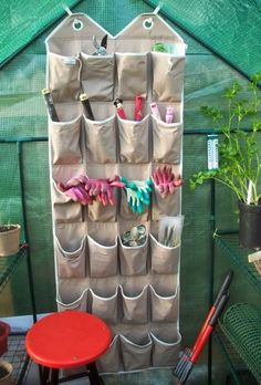 Reuse an old shoe organizer to store small gardening tools & accessories. No more lost tools!