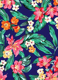 Tropical Flower Wallpapers Gallery Plus Tropical Flowers, Motif Tropical, Tropical Pattern, Tropical Prints, Tropical Vibes, Colorful Flowers, Motifs Textiles, Textile Patterns, Flower Patterns